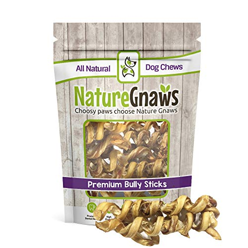 Nature Gnaws Bully Springs 7-8 inch (12 Pack) - 100% All Natural Grass-Fed Free-Range Premium Beef Dog Chews