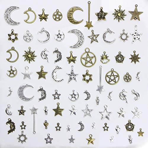 Jewelry Boxes Pendant Silver Charm (Youkwer 100g(73pcs) Mixed Sun Moon Star Charms with Container Box, Wholesale Bulk Lots Charms Pendants DIY for Necklace Bracelet Jewelry Making and Crafting,Silver&Bronze Tone (Sun Moon Star Charms))