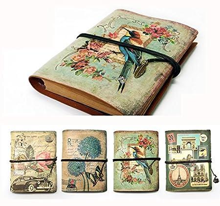 NectaRoy Retro Vintage Cuero Cuaderno Diario Notebook Rellenable Vintage Traveler Port/átil 188x142x30mm Diario Planificador con Papel Blanco y Bolsillo con Cremallera