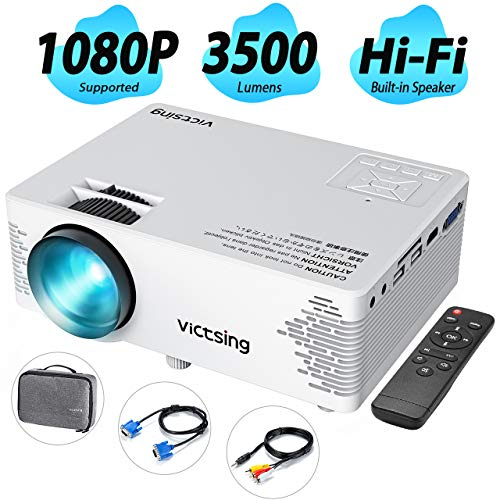 (VicTsing Mini Projector with Hifi Steoro Sound, 3500 Lux (50% Brighter). Full HD 1080P Supported Video Projector with Customsized Bag. Compatible with Smart Phone, TV Stick, Laptop, 2019 Upgraded)