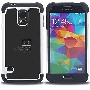 """SAMSUNG Galaxy S5 V / i9600 / SM-G900 - 3 en 1 impreso colorido de Altas Prestaciones PC Funda chaqueta Negro cubierta gel silicona suave (Confía en el equipo"""")"""