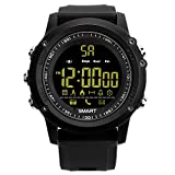 Cheap Smart Watch Model EX26 Pedometer Fitness IP67 Waterproof and Shock Resistant Remote Camera Incoming Call or Message Alert for iPhone or Android Phones, Black