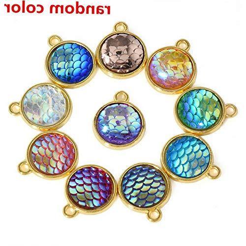 Hebel 10PCS 12mm Resin Metal Mermaid Fish Scale Charms Pendant DIY Jewelry Necklace | Model NCKLCS - 36108 | -