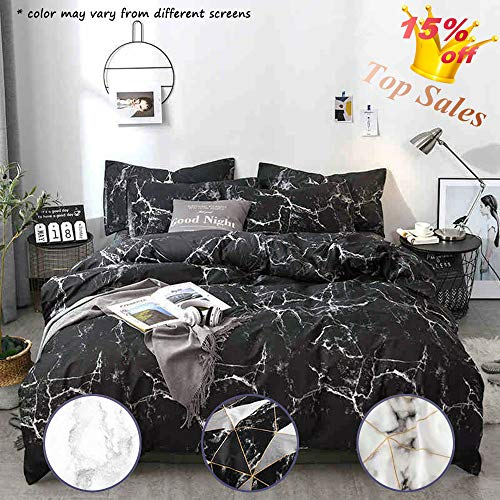 Jumeey Moroccan Bedding Sets Full Size Black with White Gray Marble Abstract Print Duvet Cover Set Queen Modern Design for Kids and Adult Ultra Soft Microfiber 3 Piece,No Comforter (And Black Double White Sets Bedding)