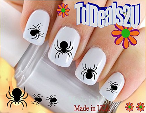 Holiday Halloween - Black Spiders WaterSlide Nail Art Decals - Highest Quality! Made in USA ()