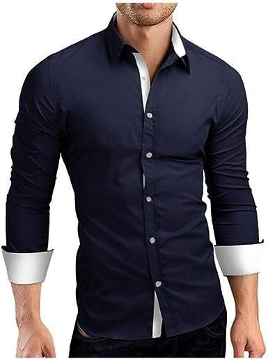 Otoño nuevos Hombres de Manga Larga Personalidad umbral Moda Camisa Azul Marino M: Amazon.es: Ropa y accesorios
