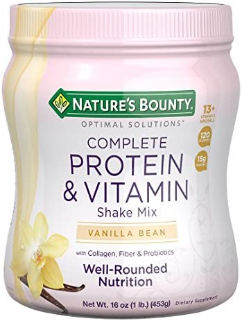 Protein Powder with Vitamin C by means of Nature's Bounty Optimal Solutions, Contains Vitamin C for Immune Health, Vanilla Bean Flavor, 1 lb