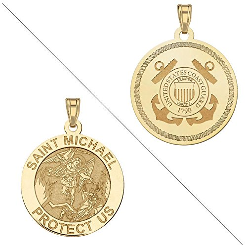 saint-michael-doubledside-coast-guard-religious-medal-1-inch-solid-14k-yellow-gold