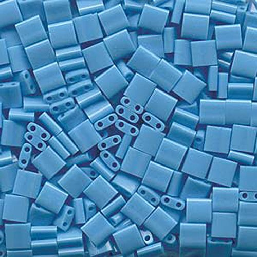 Square Shoji - Opaque Turquoise Blue Tila Beads 7.2 Gram Tube By Miyuki Are a 2 Hole Flat Square Seed Bead 5x5mm 1.9mm Thick with .8mm Holes