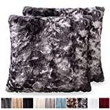 The CONNECTICUT HOME COMPANY Original Faux Fur Pillowcases, Set of 2 Decorative Case Sets, Throw Pillow Covers, Luxury Soft Cases for Bedroom, Living Room, Sofa, Couch & Bed (18x18 inch, Tie Dye Gray)