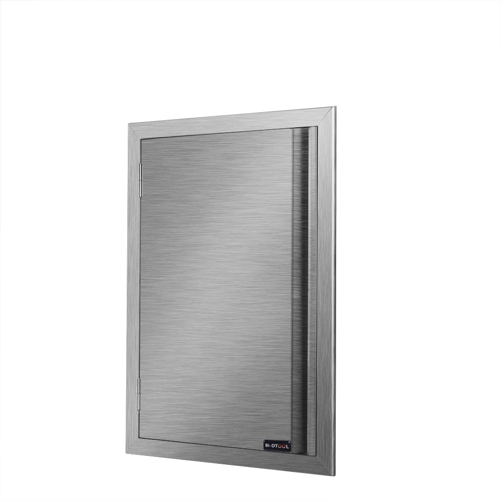 DaTOOL Stainless Steel BBQ Door,304 Brushed Stainless Steel BBQ Door 17WX24H, BBQ Island Door for Outdoor Kitchen, Commercial BBQ Island, Outside Cabinet, Barbeque Grill (17WX24H)