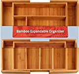 : Bamboo Expandable Cutlery tray -Silverware & Drawer Organizer-8 compartment-by Utopia Kitchen