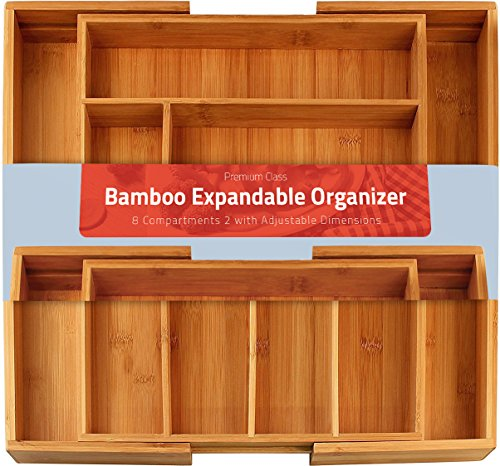 Bamboo Expandable Cutlery Tray Compartment product image