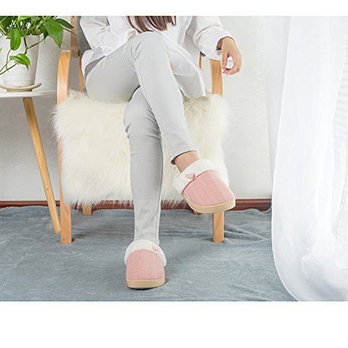 Outdoor Cozy Slippers Indoor Knitted and Lining Pink Plush Woolen House Shoes Men Winter Home Women 1dfWqAf