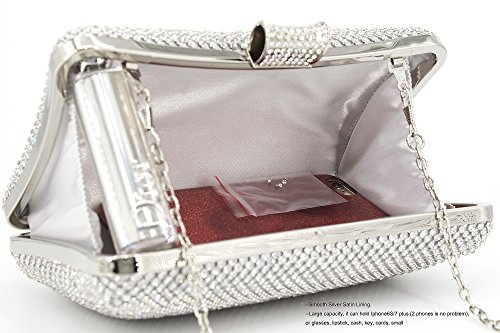 for Clutches Wedding Party Bags Rhinestone Women Clutch Crystal Evening Silver Purse Large wCnq1R8C