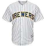 Outerstuff Milwaukee Brewers Blank White Stripe Youth Cool Base Alternate Team Jersey