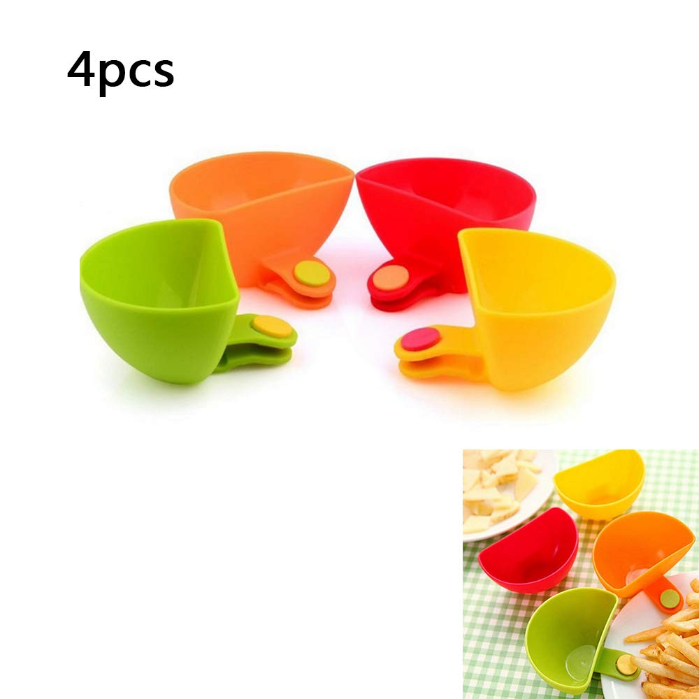 Dish Dip Clips Sauce Dipping Bowls Plate Grab Clip Plastic Flavored Seasoning Dish for Salt Vinegar Sugar (4pcs) Ouchver