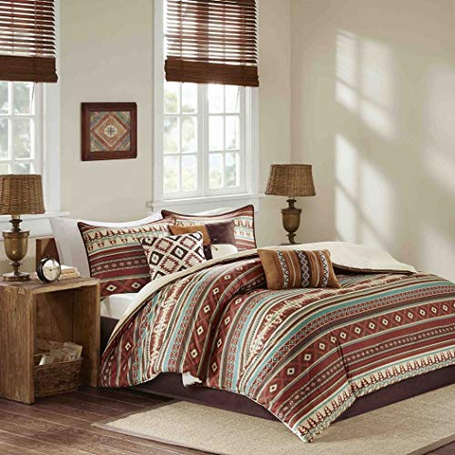 7 Piece Blue Brown Red Striped Comforter Queen Set, Spice White Cabin Bedding Lodge Diamond Print Bed in A Bag for Master Bedroom Cottage Southwestern Colorful Modern, Polyester ()