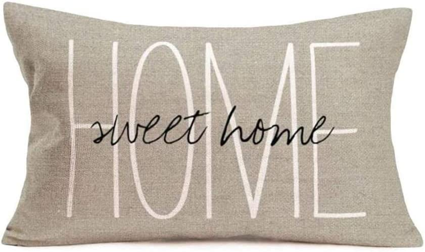 Qinqingo Throw Pillow Covers 12 x 20 Inch Home Sweet Home Pillow Cases Warm Words Blessings Cushion Cover for Sofa Car Decor (VD-20)