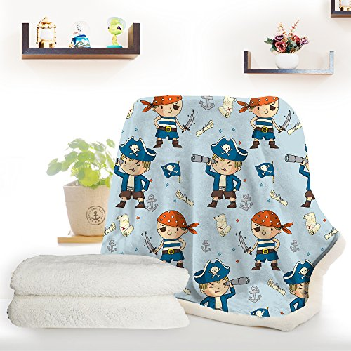ARIGHTEX Pirate Boy Blanket Nautical Themed Sherpa Fleece Blanket Ultra Soft Blue and Orange Pirates Teens college dorm throw blanket (50 x 60 Inches) by ARIGHTEX (Image #4)