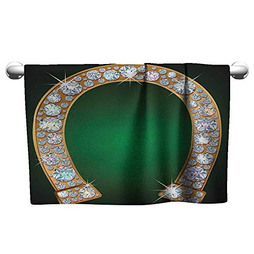 Travel Towel W39 x L10 Horseshoe,Horseshoe Design Diamonds Fashion Treasure Crystal Figures Digital Print,Green Yellow Pearl Soft and Durable