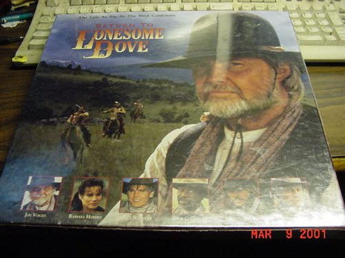 3 Laserdisc Box Set Of RETURN TO LONESOME DOVE 324 Minutes. Laser Disc not A DVD or A VHS tape. from Laserdisc not DVD or VHS.  Must have a laserdisc player to use.  A laserdisc is the size of an LP record,  almost 12 inches in diameter.
