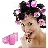 Beau Belle Grands Bigoudis Rose Haute Qualité Velcro - Hair Roller - Bigoudis - Volume, Large, Rose - Rouleaux Cheveux - Rouleaux - Lot 6 Bigoudis
