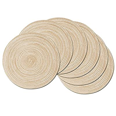 SHACOS Round Braided Placemats Set of 6 Washable Round Placemats for Kitchen Table 15 inch (Beige, 6) - Material: Polypropylene and Cotton. 15 inch across, large enough for any plate or bowl. Protect and dress up your tables. Fit rectangular, round and oval tables. Fit almost any kitchen or dining room decoration. Set of 6. Great for everyday use inside or outside. Main color is beige color, light brown tan color with few white threads woven in. - placemats, kitchen-dining-room-table-linens, kitchen-dining-room - 516iAvneTUL. SS400  -