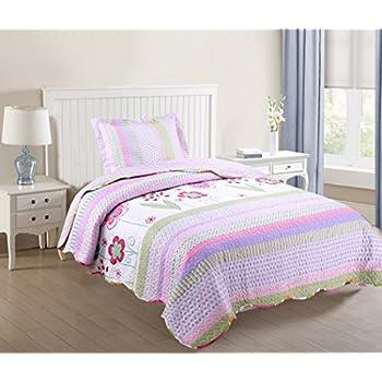 Amazon.com: Brandream Twin Size Girls Romantic Rustic Style Summer ... : quilts twin size - Adamdwight.com