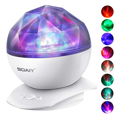 (Aurora Night Light Projector Lights, Soaiy, 8 Changing Aurora and 360°Rotatable, 1h Auto closes , Built-in Speaker, for kids or Adults to Sleep Soothe, Insomniac and Anxious Relax, Party Lights-White )