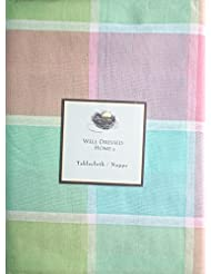Superb Well Dressed Home Fabric Tablecloth Pastel Spring Easter Tablecloth Pink  Blue Green Yellow Large Squares Plaid Pattern    60 Inches Round