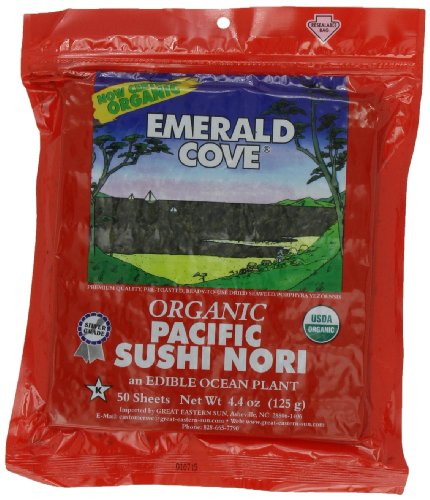 Emerald Cove Silver Grade Organic Pacific Sushi Nori (Dried Seaweed), 50-Count Sheets (Pack of 4) by Emerald Cove