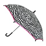 CTM Girls' Zebra Print and Pink Trim Hook Handle Umbrella, Pink Zebra