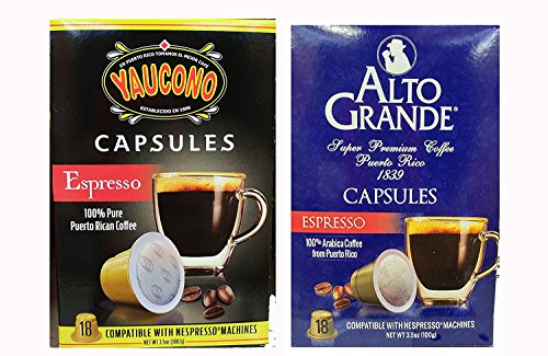Alto Grande Espresso and Yaucono Puerto Rico Coffee Capsule Variety Pack for Nespresso Machine (2 Boxes of 18 Capsules) Includes 2 Envelopes of Sason Accent Seasoning For Sale