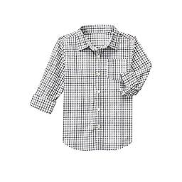 Crazy 8 Big Boys\' Poplin Button-Down Shirt, Jet Ivory, M