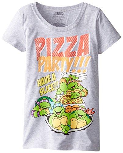 FREEZE Little Girls' TMNT Pizza Party Short Sleeve Tee, Heather Grey, 6X