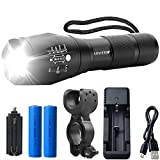 Gracetop Tactical Flashlights CREE T6 LED light 5 Modes Zoomable Hight 18650 battery