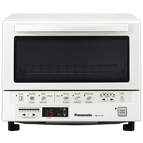 Panasonic FlashXpress Compact Toaster Oven with Double Infrared Heating, Crumb Tray and 1300 Watts of Cooking Power – 4 Slice Countertop Toaster Oven – NB-G110P-W (White)