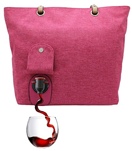 PortoVino City Wine Tote (Pink) - Fashionable Wine Purse with Hidden, Insulated Compartment, Holds 2 Bottles of Wine!