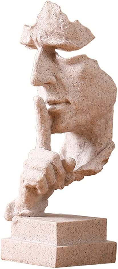 Abstract Sculpture Thinker Statue Silence is a Golden Statue Scekackdv Modern Creative Office Resin Keep Silent Room Art Decorations Gifts for Friends Garden Decor Sculpture 5x5x13inch (Sandstone)