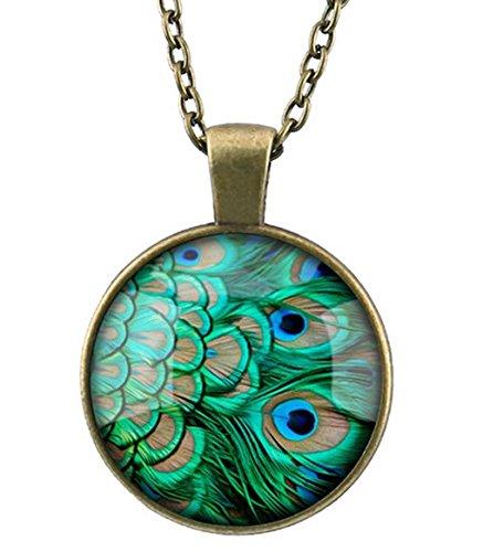 - Frybrid Women Heart Leaf Key Peacock Pendant Sweater Chain Necklace