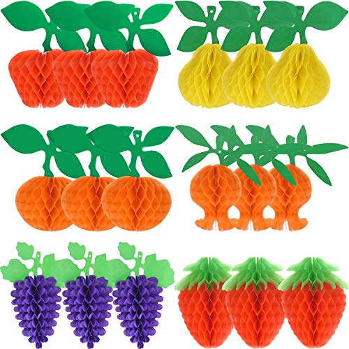 Maitys 18 Pieces Fruit Tissue Honeycomb Tissue Paper Fruit Decorations- Apple/Pear/Grape/Strawberry/Pomegranate/Orange with Hanging Rope for Tropical Hawaiian Luau Party Decorations -