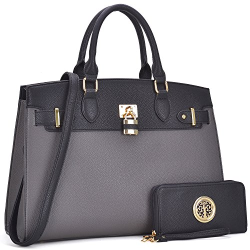 Multi Pockets Satchel for Women, Large Designer Lady Purses Laptop Tablet Tote Work Briefcase (FN-03-6876-W-GY/BK)