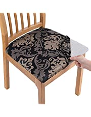 Smiry Printed Dining Chair Seat Covers - Stretchy Removable Washable Upholstered Chair Seat Slipcover Protector