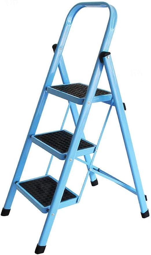 Escalera Plegable de Aluminio para Escalera de Escalada, 3 escalones, escaleras pequeñas con pasamanos, Color Azul: Amazon.es: Deportes y aire libre