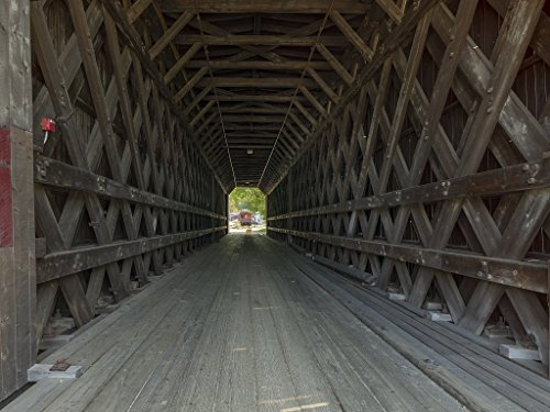 Photograph| Six-year-old Wade Flanders poses no weight problem for the historic Contoocook Railroad Bridge in Contoocook, New Hampshire 2 Fine Art Photo Reproduction 60in x 44in ()