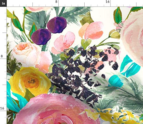 (Big Floral Fabric - Autumn Blooms Giant // Bright Pink Yellow Mod Bold Colorful Large Scale Summer Print on Fabric by the Yard - Linen Cotton Canvas for Sewing Home Decor Table Linens Apparel Bags)