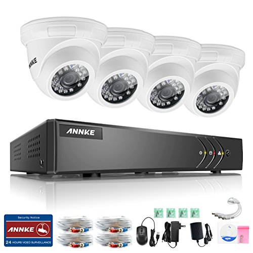ANNKE Security CCTV System 4CH 1080P Lite HD TVI Security DVR with 4x 720P 1.0MP Indoor/Outdoor Camera, Super Night Vision, IP66 Weatherproof, No HDD