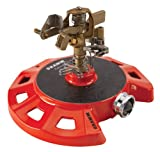 Dramm 15081 Circular Base Impulse Sprinkler with a Heavy-Duty Metal Base, Red