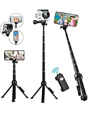 Selfie Stick Tripod Stand,Rimposky 113cm Extendable Selfie Stick with Wireless Remote,Compatible with iPhone/Android/GoPro.Small Phone Tripod Stand for Recording